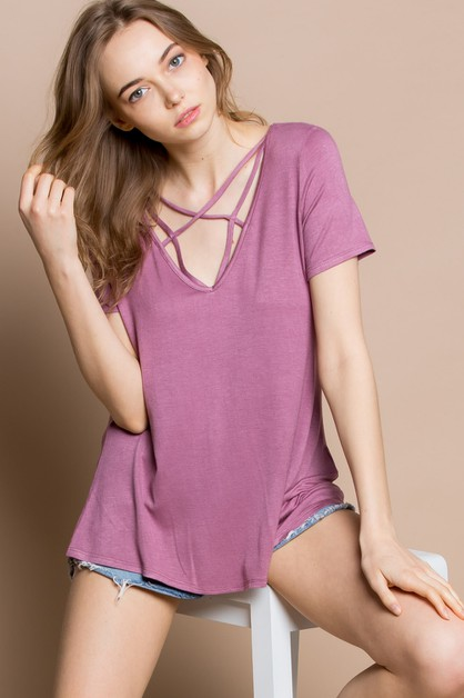 Strappy Front V neck Skimming Top - orangeshine.com