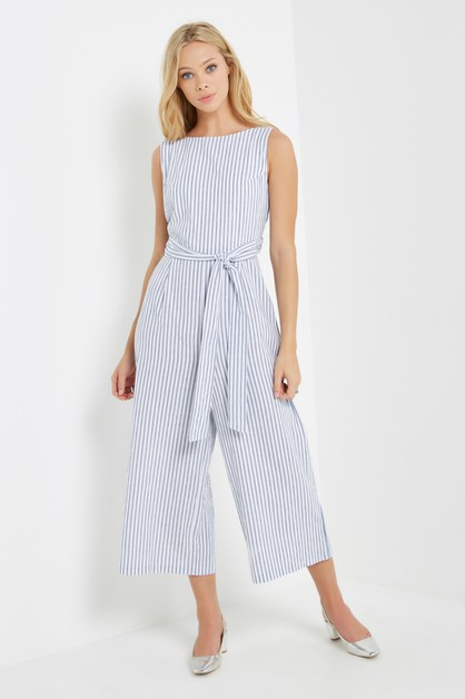 Striped Culotte Jumpsuit - orangeshine.com