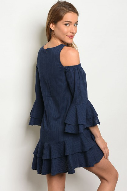 DOUBLE RUFFLED HEM MINI DRESS - orangeshine.com
