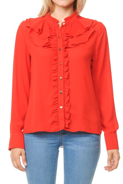 Women long sleeve button down blouse - orangeshine.com