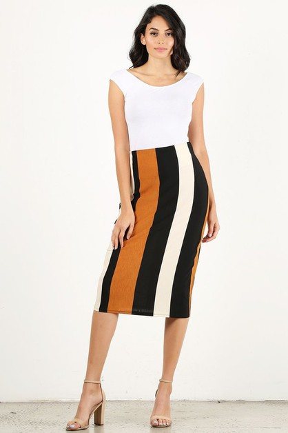 Multi color stripe high waiste skirt - orangeshine.com