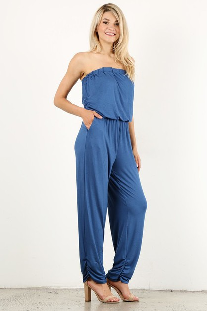 Knit strapless jumpsuit in a relaxed - orangeshine.com