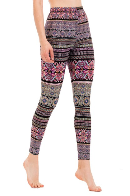 Blocked Paisley Print Leggings - orangeshine.com