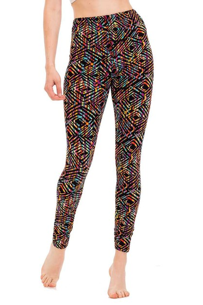 Abstract Rhombus Pattern Leggings - orangeshine.com