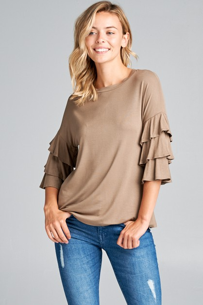 RUFFLED 3/4 SLEEVE ROUND NECK TOP - orangeshine.com