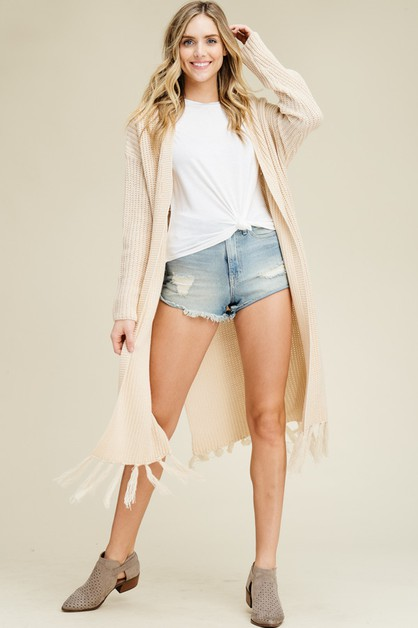 Long Sleeve Fringe Hem Cardigan - orangeshine.com
