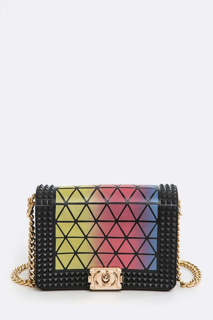 Geometric Structure Jelly Studs Bag - orangeshine.com
