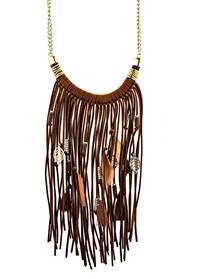 Fringe and Feather Charm Necklace - orangeshine.com