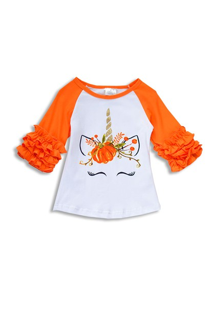 Unicorn Pumpkin Print Halloween Top - orangeshine.com