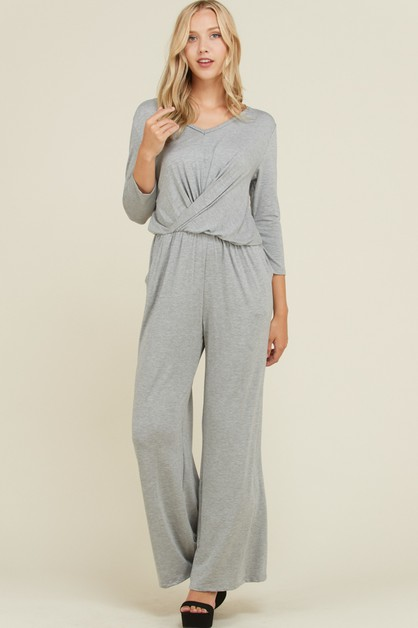 Solid Front Twist Wide Leg Jumpsuit - orangeshine.com