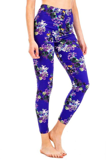 Peach Skin Mix Floral Leggings - orangeshine.com