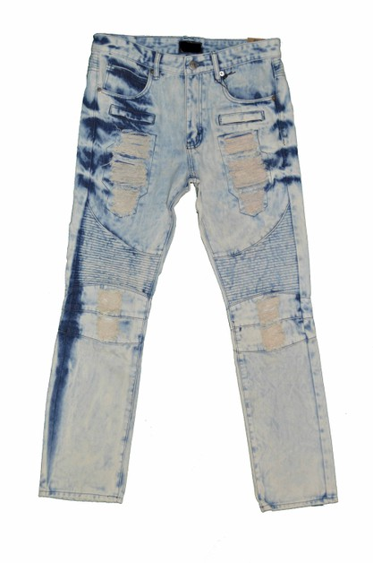 Washed Denim Zippered Moto Jeans - orangeshine.com