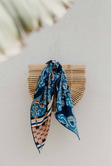 Navy Paisley Square Hair Scarf - orangeshine.com