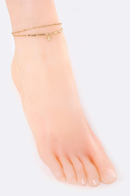 Metal Beads Star Charm Layer Anklet - orangeshine.com