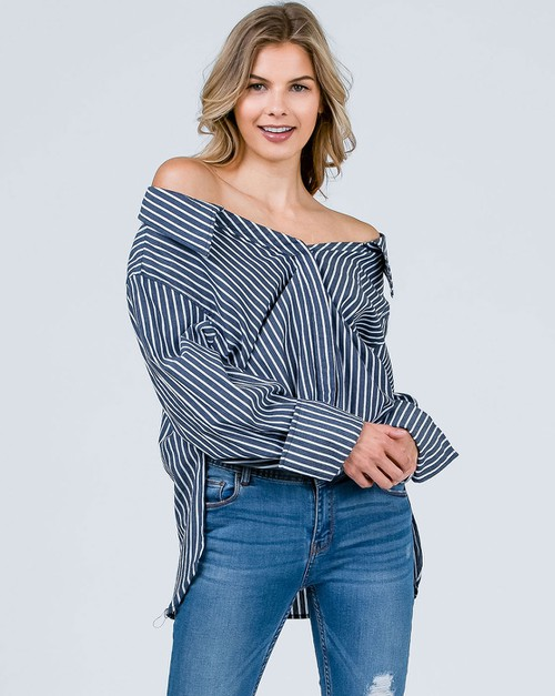 OFF SHOULDER  BUTTON DOWN TOP - orangeshine.com
