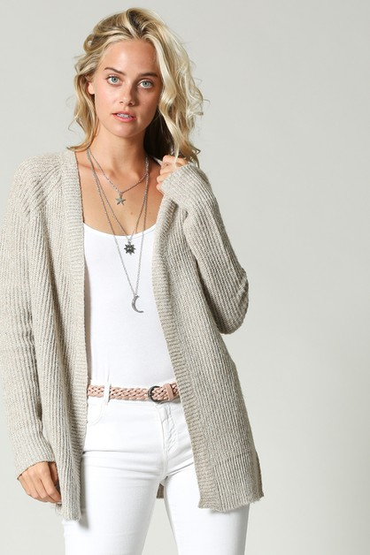 KNIT CARDIGAN WITH EYELET DETAIL - orangeshine.com