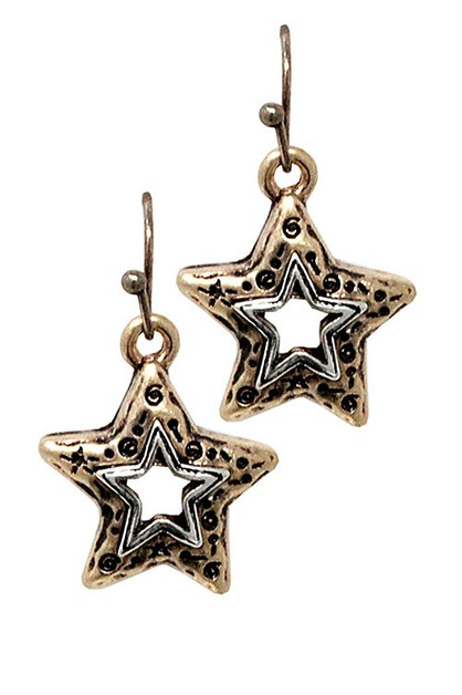 Star Metal Drop Hook Earrings - orangeshine.com