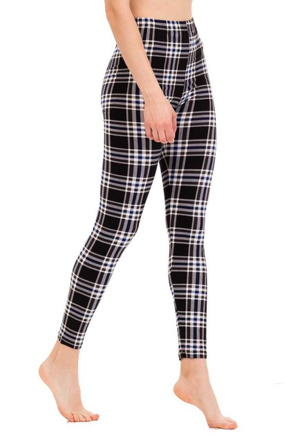 Checker Print Leggings - orangeshine.com