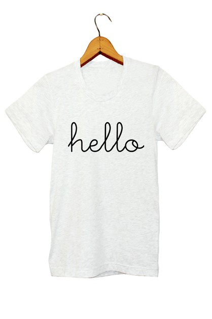 HELLO PRINTED GRAPHIC TEE - orangeshine.com
