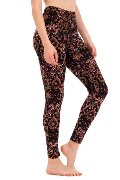 Abstract Print Peached Skin Leggings - orangeshine.com