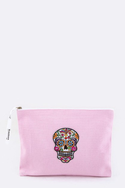 Calavera Embroidery Canvas Pouch - orangeshine.com