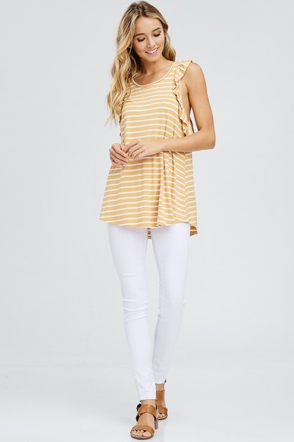 Ruffle Trim Striped Racerback Top - orangeshine.com