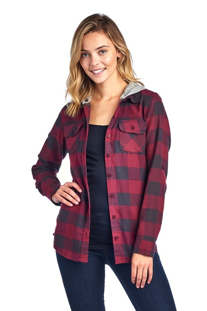 Flannel Plaid Shirts Blouse Hoody - orangeshine.com