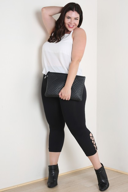 Plus Size Side Criss-Cross Capri Leg - orangeshine.com