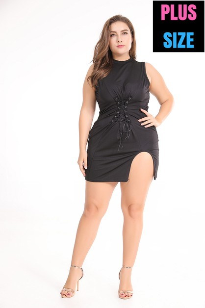 Women Solid Plus Dresses Balck  - orangeshine.com