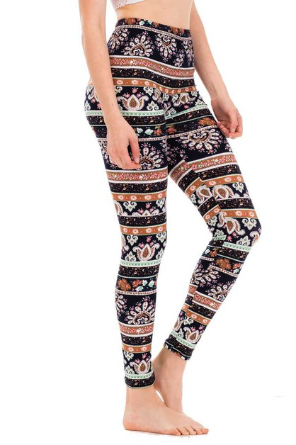 Paisley Stripe Print Leggings - orangeshine.com
