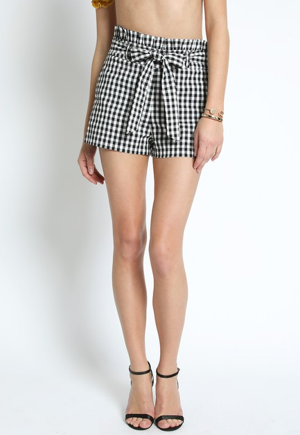 PAPER BAG GINGHAM SHORT WITH TIE - orangeshine.com