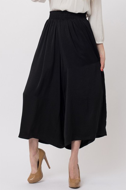 SATIN SMOCKING WAIST WIDE LEG PANTS - orangeshine.com