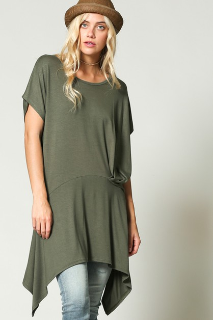 HIGH LOW HEM SLOUCHY FIT LONG TUNIC - orangeshine.com