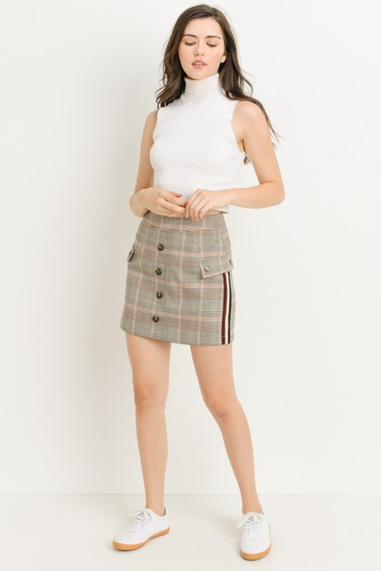 Striped Plaid Mini Skirt - orangeshine.com