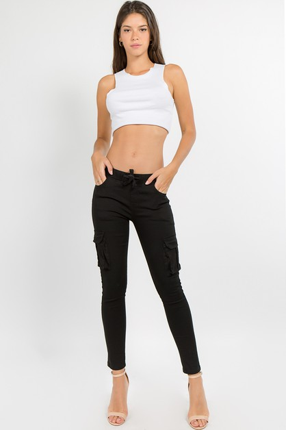 COLOR SKINNY CARGO PANTS - orangeshine.com