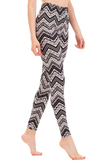 Mix Patterned Chevron Peach Legging - orangeshine.com
