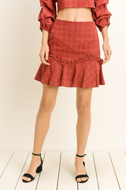 Plaid Ruffle Hem Skirt - orangeshine.com