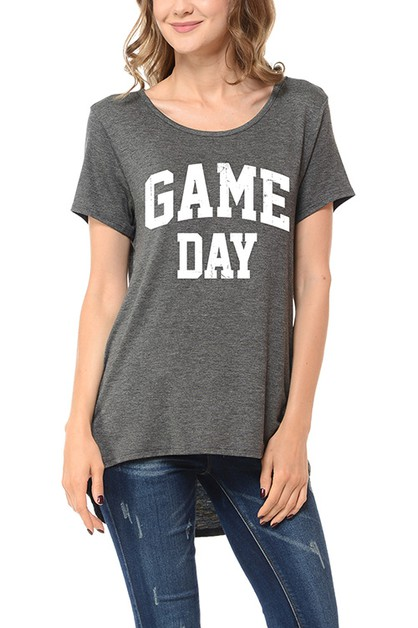 GAME DAY LOW HIGH SCOOP NECK TOP - orangeshine.com