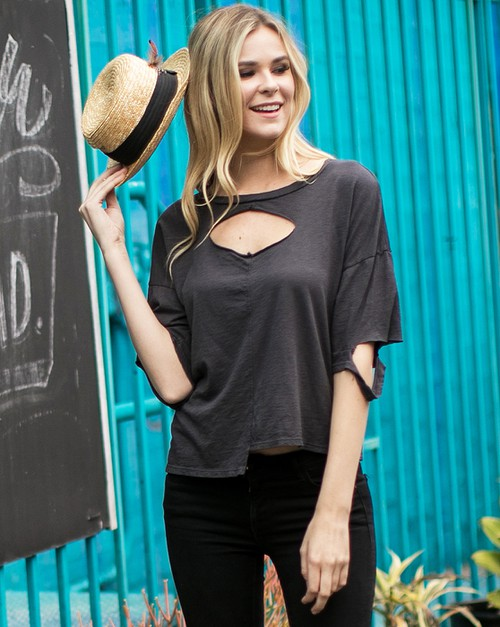 Slash Cutouts Uneven Hem Top - orangeshine.com