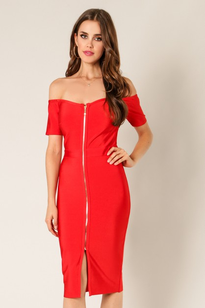 Off Shoulder Front  Zipper Bandage  - orangeshine.com
