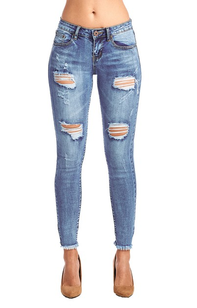 Women Destroyed Skinny Jeans Ripped  - orangeshine.com