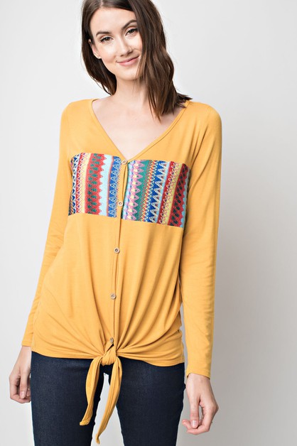 Embroidered Block Style Top - orangeshine.com