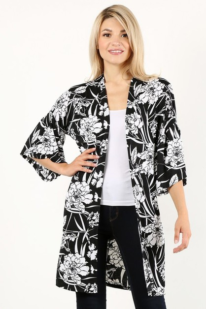 Floral print long body cardigan - orangeshine.com