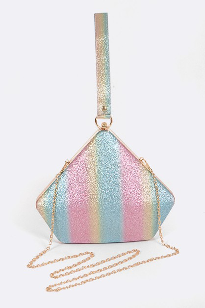 Glitter Rainbow Color Top Clutch - orangeshine.com