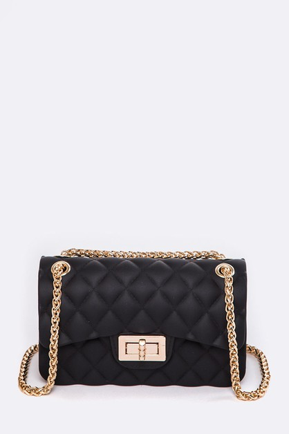 Quilted Texture Jelly Shoulder Bag - - orangeshine.com