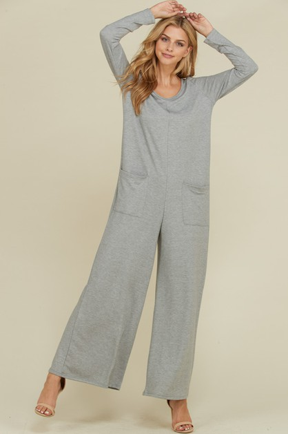 French Terry Long Sleeve Jumpsuit - orangeshine.com