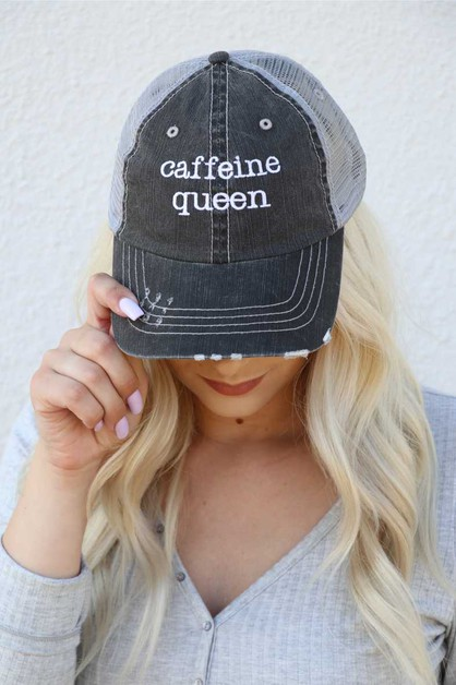Caffeine Queen Embroidered Hat - orangeshine.com