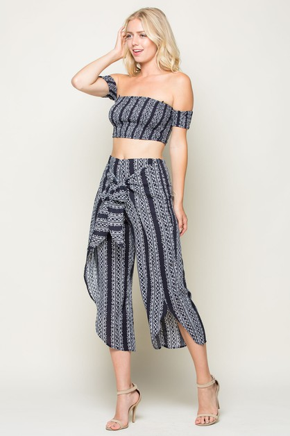 TIE FRONT WIDE PANTS - orangeshine.com