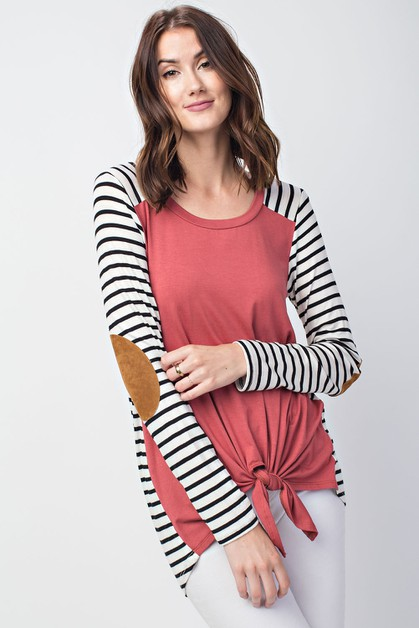 Striped Elbow Patch Sleeve Twist Bot - orangeshine.com