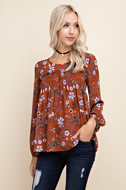 Floral Smocked Blouse - orangeshine.com
